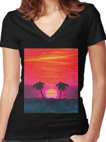 Retro sunset 2 Women's Fitted V-Neck T-Shirt