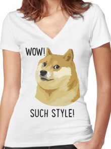 WOW! SUCH STYLE! Doge Meme T Shirts and More Women's Fitted V-Neck T-Shirt