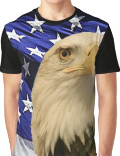 American Bald Eagle and Flag Graphic T-Shirt