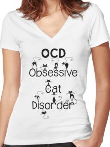 OCD - Obsessive Cat Disorder - Cute and Whimsical Black Kitty Cats Women's Fitted V-Neck T-Shirt