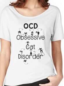 OCD - Obsessive Cat Disorder - Cute and Whimsical Black Kitty Cats Women's Relaxed Fit T-Shirt