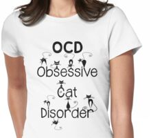 OCD - Obsessive Cat Disorder - Cute and Whimsical Black Kitty Cats Womens Fitted T-Shirt