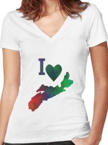 I Love Nova Scotia Women's Fitted V-Neck T-Shirt