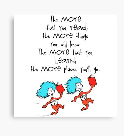 Thing Read Book Dr Seuss Quote Canvas Print