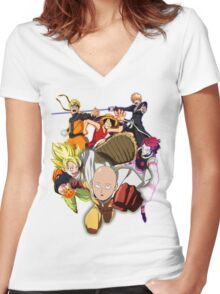 Composition anime Women's Fitted V-Neck T-Shirt