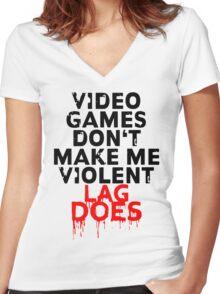 Videogames don't make me violent Women's Fitted V-Neck T-Shirt