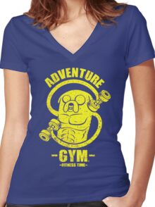 Jake Adventure Time Gym Women's Fitted V-Neck T-Shirt
