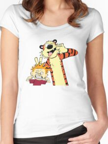 Calvin And Hobbes Fun Art Women's Fitted Scoop T-Shirt