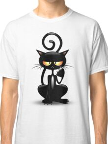 Cattish Angry Black Cat Cartoon Classic T-Shirt