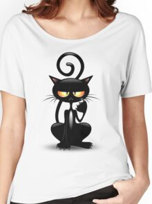 Cattish Angry Black Cat Cartoon Women's Relaxed Fit T-Shirt