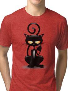 Cattish Angry Black Cat Cartoon Tri-blend T-Shirt