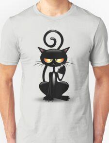 Cattish Angry Black Cat Cartoon Unisex T-Shirt
