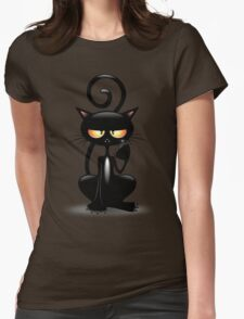 Cattish Angry Black Cat Cartoon Womens Fitted T-Shirt