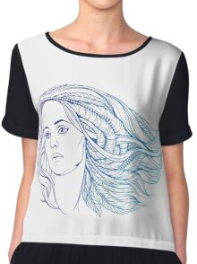 portrait of a woman with hippie-style hair. in blue colors Chiffon Top