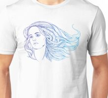 portrait of a woman with hippie-style hair. in blue colors Unisex T-Shirt