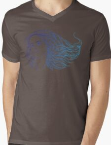 portrait of a woman with hippie-style hair. in blue colors Mens V-Neck T-Shirt