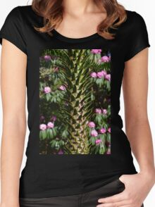 Monkey Puzzle and Pink Flowers Women's Fitted Scoop T-Shirt