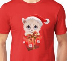 Kitten Christmas Santa with Big Red Gift Unisex T-Shirt