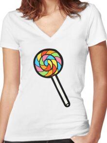 Rainbow Lollipop Pattern Women's Fitted V-Neck T-Shirt