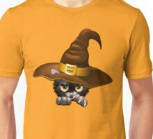 Black Kitty Cartoon With Witch Hat Unisex T-Shirt