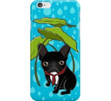 Frenchie puppy is enjoying the rain in Spring iPhone Case/Skin