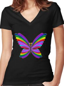 Butterfly Psychedelic Rainbow Women's Fitted V-Neck T-Shirt