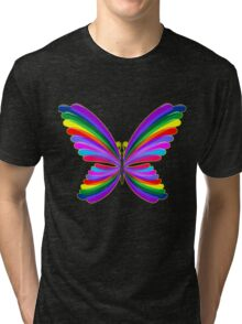 Butterfly Psychedelic Rainbow Tri-blend T-Shirt