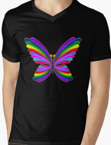 Butterfly Psychedelic Rainbow Mens V-Neck T-Shirt