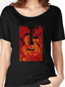 Red guitar abstract Women's Relaxed Fit T-Shirt