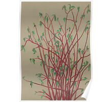 """""""Red twigs"""", pastel drawing, nature art, green, red, tree branches Poster"""