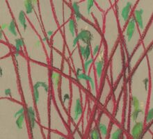 """Red twigs"", pastel drawing, nature art, green, red, tree branches Sticker"
