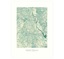 Delhi Map Blue Vintage Art Print