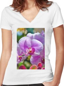 Pink White Orchid Women's Fitted V-Neck T-Shirt