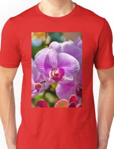 Pink White Orchid Unisex T-Shirt