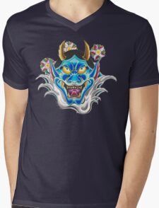 Blue Hannya Mens V-Neck T-Shirt