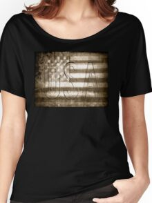 USA in Sepia Women's Relaxed Fit T-Shirt