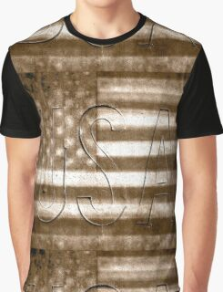 USA in Sepia Graphic T-Shirt