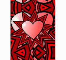 Pink Heart with Red Abstract Pattern Unisex T-Shirt