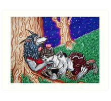 Pandaren and Worgen Cuddles Art Print