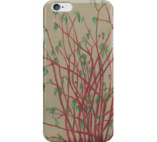 """""""Red twigs"""", pastel drawing, nature art, green, red, tree branches iPhone Case/Skin"""