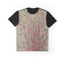 """Red twigs"", pastel drawing, nature art, green, red, tree branches Graphic T-Shirt"