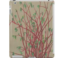 """Red twigs"", pastel drawing, nature art, green, red, tree branches iPad Case/Skin"