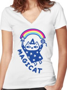 MAGICAT Women's Fitted V-Neck T-Shirt
