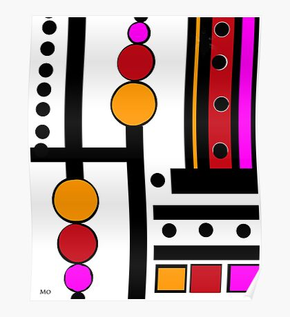 modernism red yellow pink Poster
