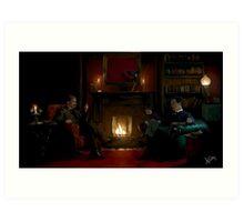 Sherlock Holmes and John Watson by the fire Art Print