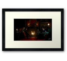 Sherlock Holmes and John Watson by the fire Framed Print