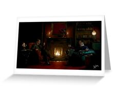 Sherlock Holmes and John Watson by the fire Greeting Card
