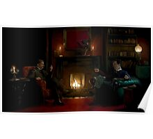 Sherlock Holmes and John Watson by the fire Poster
