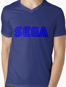 Blue Sega Logo Mens V-Neck T-Shirt