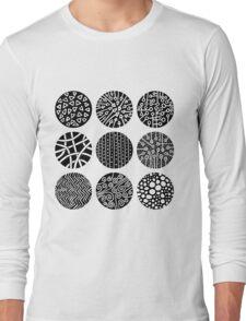 Decorative Circles - Black and White Long Sleeve T-Shirt